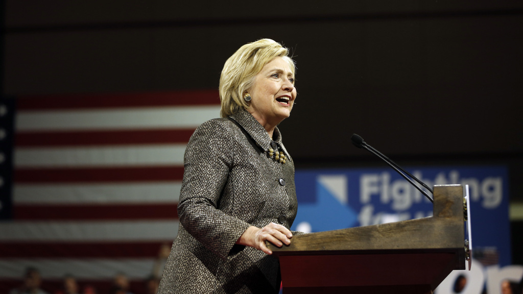 Democratic presidential candidate Hillary Clinton speaks at her primary election night rally in Philadelphia.