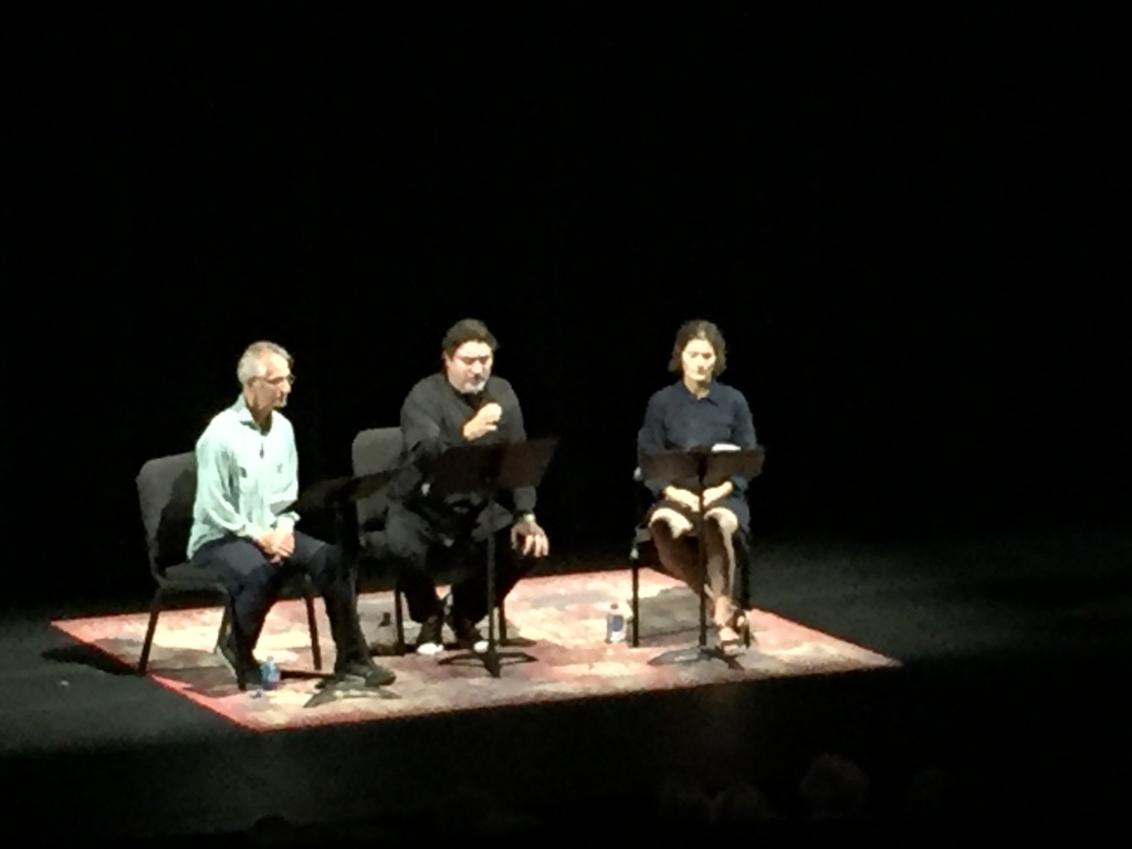 (L-R) Actors David Strathairn, Alfred Molina, and Heather Goldenhersh read from the new book
