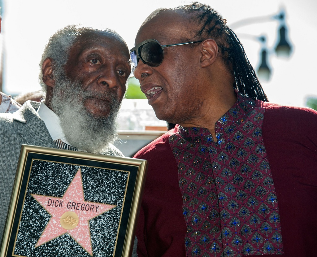 Actor Dick Gregory and musician Stevie Wonder ceremonies where Gregory is honored with a star on The Hollywood Walk of Fame on February 2, 2015.