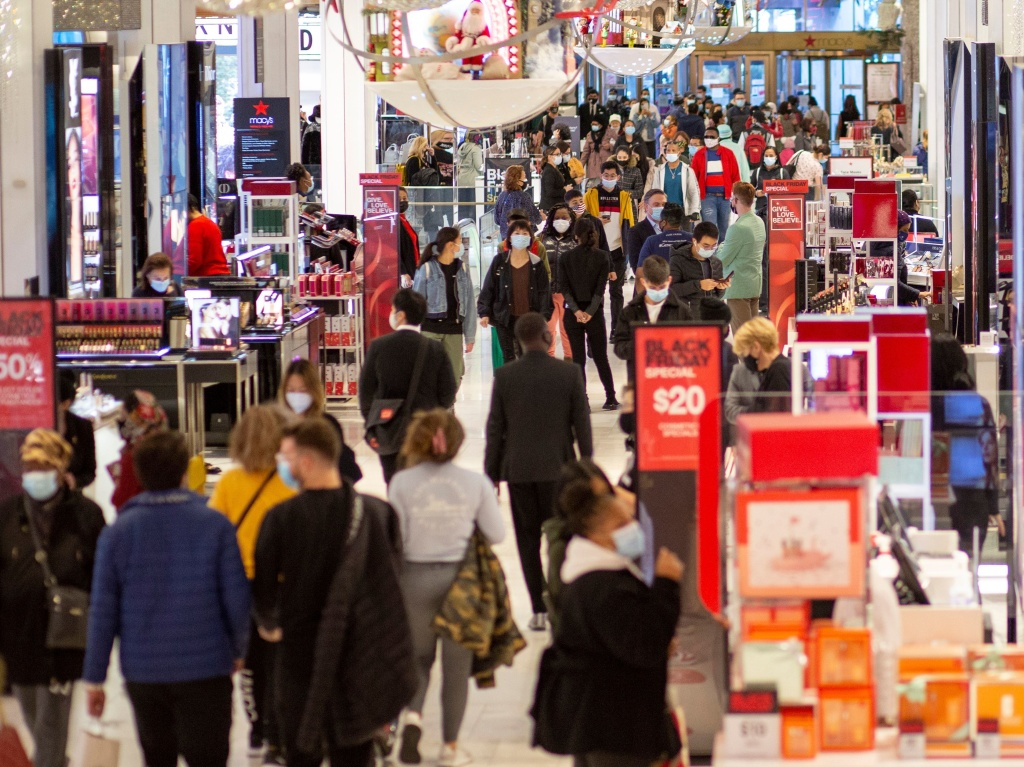 People shop at Macy's in New York on Black Friday, Nov. 27.