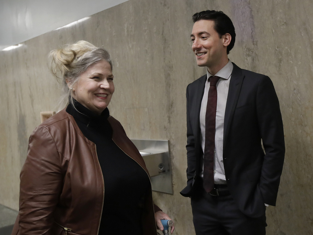 Sandra Merritt and David Daleiden outside of a San Francisco courtroom. The two anti-abortion activists are charged with invasion of privacy for secretly making videos at Planned Parenthood meetings.