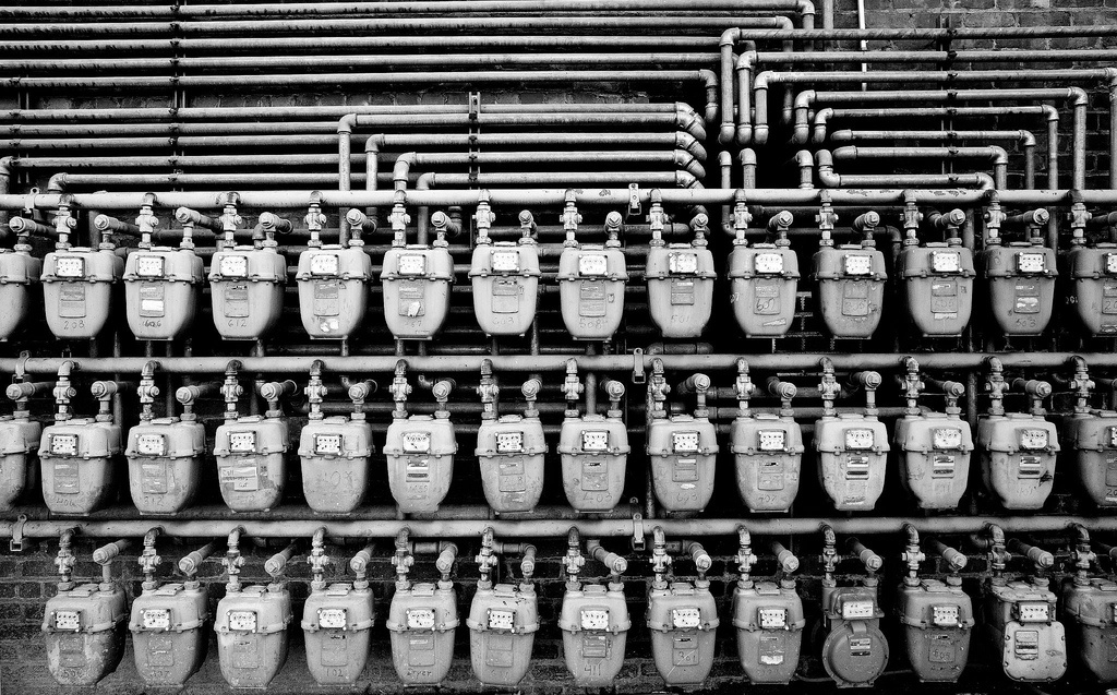 Three dozen water meters or more in San Francisco, but if this picture were in Bakersfield you wouldn't see any. Not everybody in California meters their water.