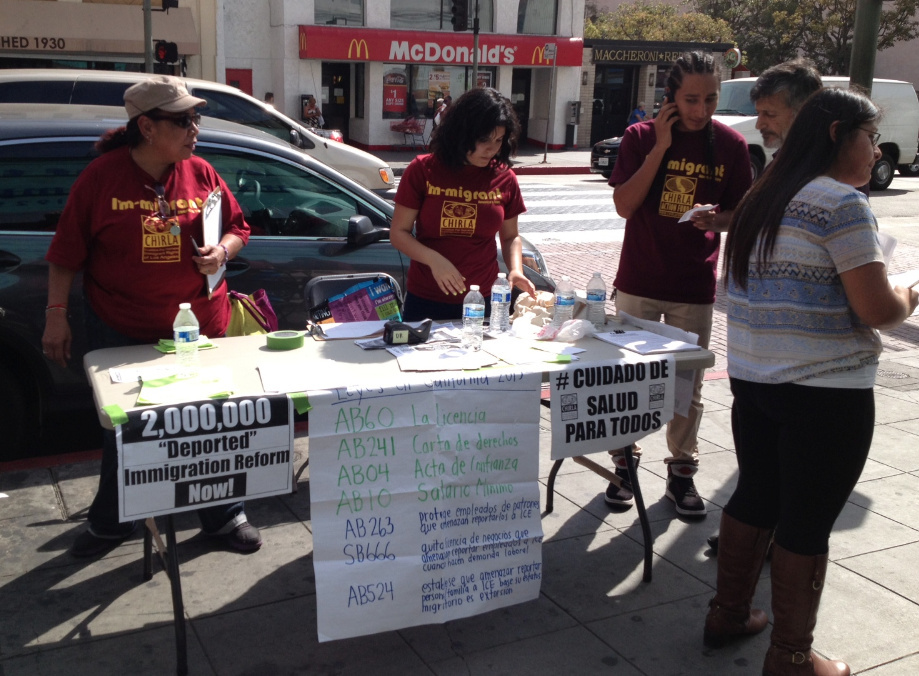 Activists from the Coalition for Humane Immigrant Rights of Los Angeles staged a