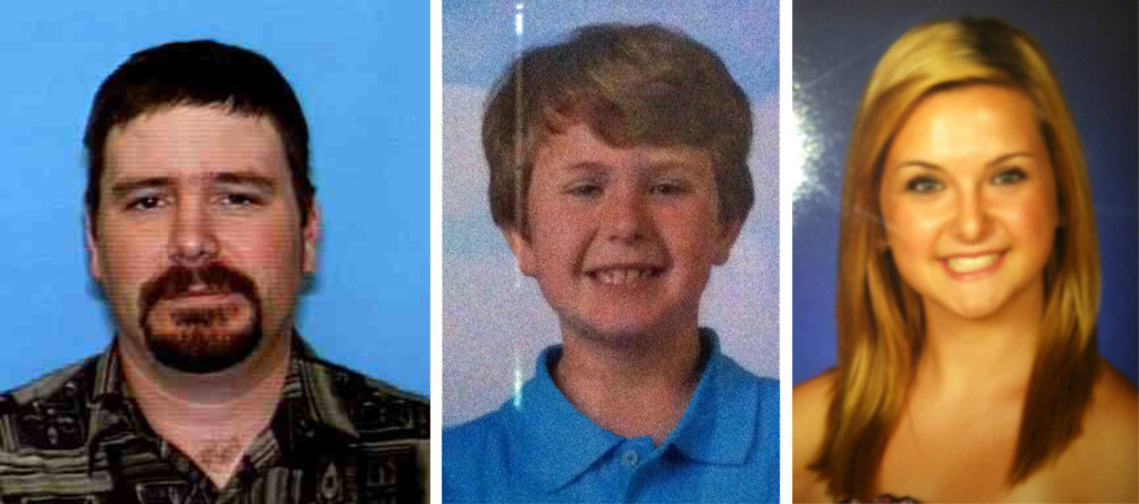 Officials are searching for suspect James Lee Dimaggio (left) in relation to an Amber Alert issued after a house was burned down in San Diego County. Ethan (center) was confirmed dead Friday, Aug. 9, 2013. Hannah (right) remains missing.