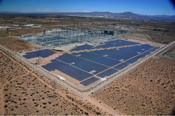 Located about 65 miles north of L.A. near the community of Adelanto, Calif. The project produces 10 MW (AC) power, which is enough energy to meet the needs of 3,300 typical homes each year.