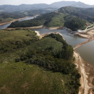 Aerial view of the Atibainha river dam, in Nazare Paulista, during a drought affecting Sao Paulo state, Brazil on December 17, 2014. The Atibainha river dam is part of the Sao Paulo's Cantareira system of dams, which supplies water to 45% of the metropolitan region of Sao Paulo --20 million people-- and is now at historic low.