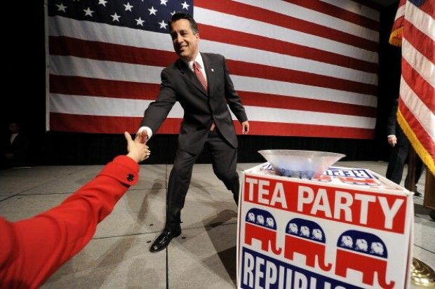 Governor-elect Brian Sandoval of Nevada shakes hands with a supporter on election night. November 2, 2010