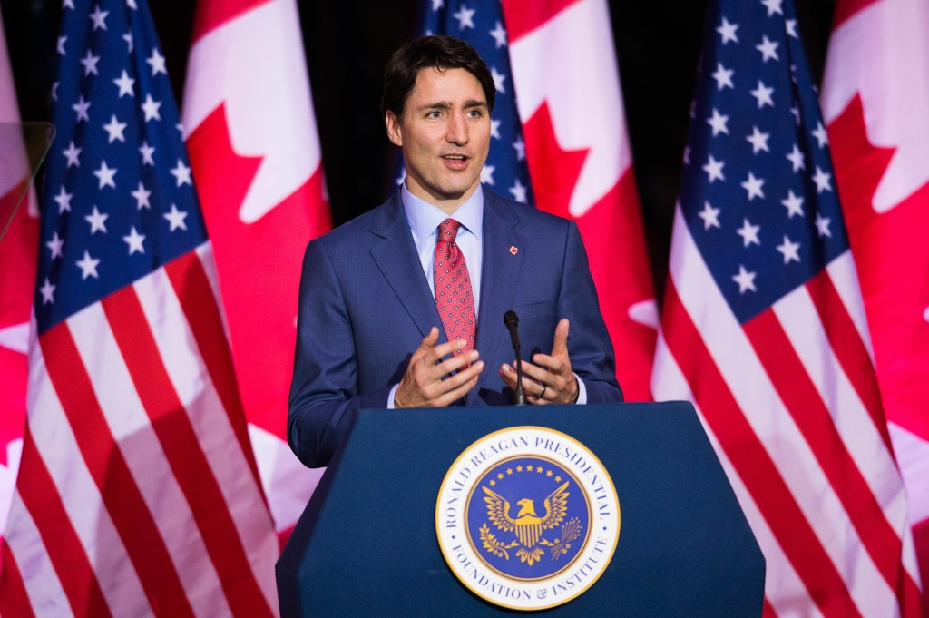 Canadian Prime Minister Justin Trudeau delivers an address at the Ronald Reagan Presidential Library and Museum, February 9, 2018 in Simi Valley, California.