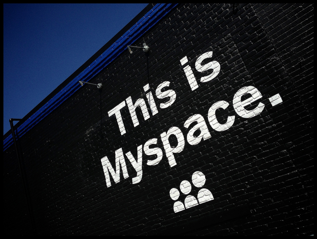 The Myspace logo appears on the side of a building at the South by Southwest Festival in Austin, Texas