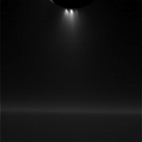 This unprocessed view of Saturn's moon Enceladus was acquired by NASA's Cassini spacecraft during a close flyby of the icy moon on Oct. 28, 2015.