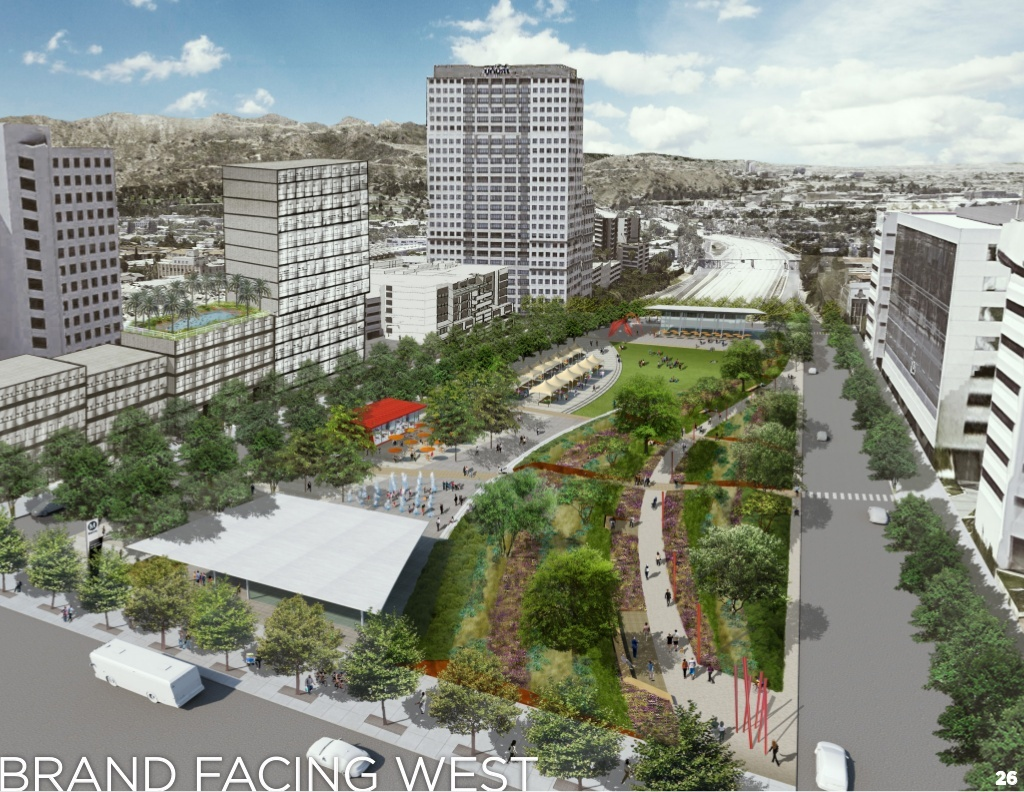 The updated vision plan which would reestablish a connection between the residential neighborhoods north of the freeway and the downtown core through a cap park.