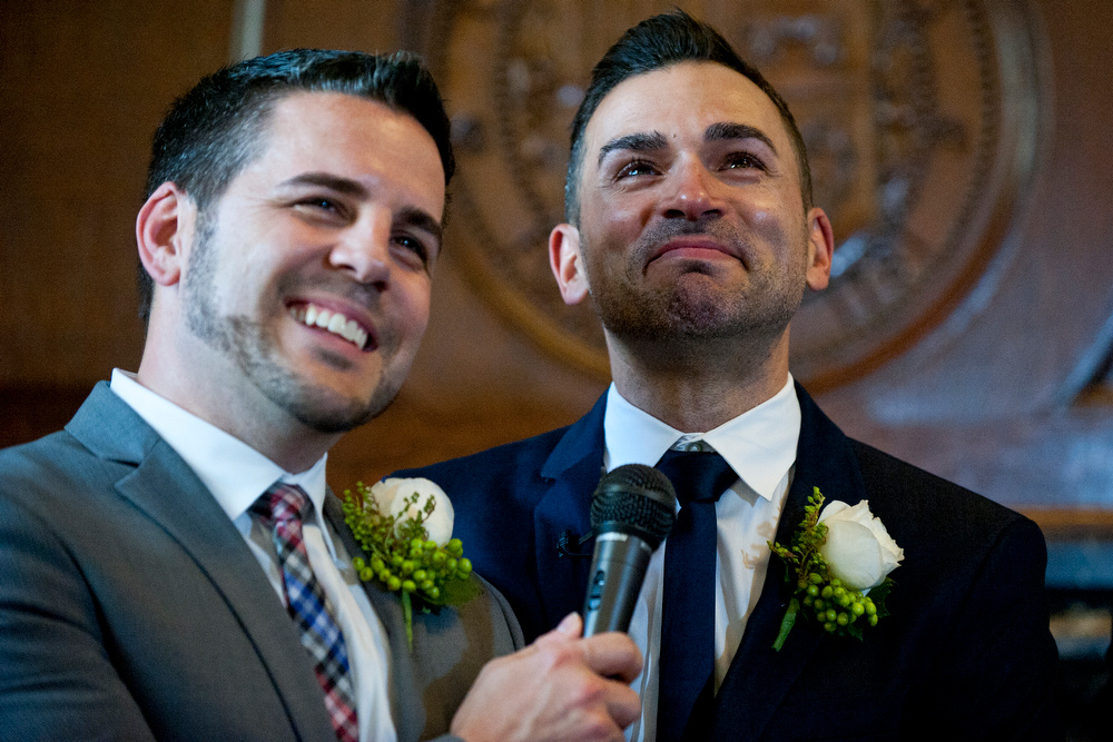 Paul Katami and Jeff Zarrillo, plaintiffs in the Supreme Court case that overturned California's same-sex marriage ban, became the first gay couple to wed in Los Angeles since 2008 at City Hall. Outgoing Mayor Antonio Villaraigosa officiated the ceremony.