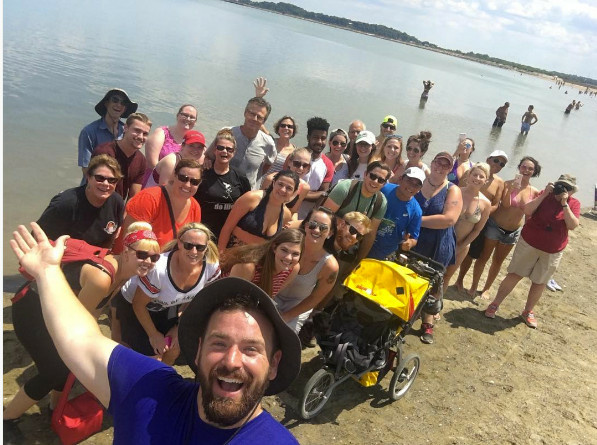 Ben Davis takes one last selfie upon reaching Boston, the destination of his 148-day cross-country walk.