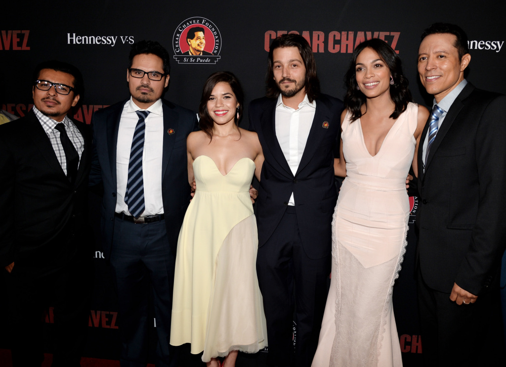 Actors Jacob Vargas, Michael Pena, America Ferrera, director Diego Luna, actors Rosario Dawson and Yancey Arias arrive at the premiere of Pantelion Films And Participant Media's