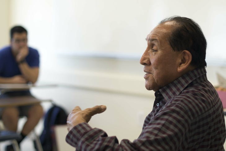 Ernest Siva, one of the last living speakers of the Serrano language, speaks in a class at Cal State San Bernardino.