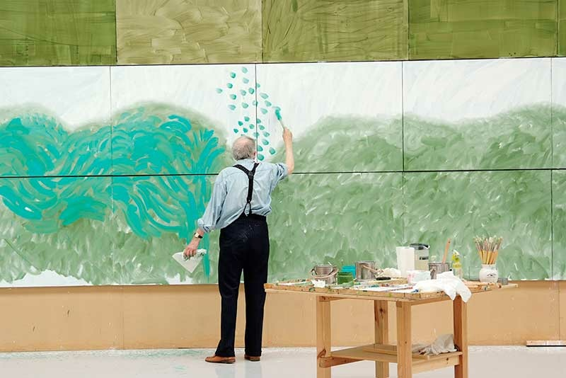 David Hockney working on The Arrival of Spring in Woldgate, East Yorkshire in 2011 (twenty eleven), Version 3, 2011