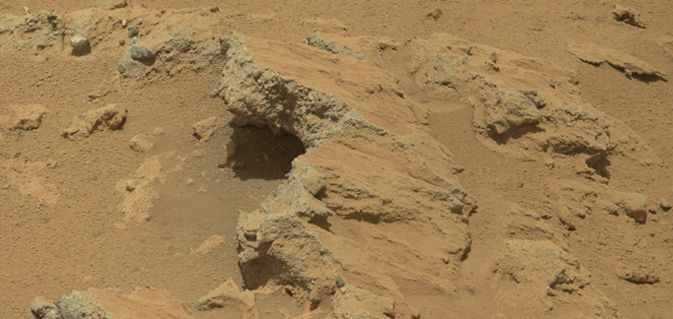 NASA's Curiosity rover found evidence for an ancient, flowing stream on Mars at a few sites, including the rock outcrop pictured here, which the science team has named