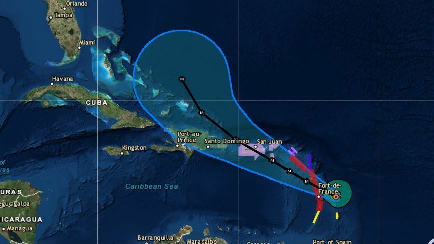 Map Hurricane Maria Heads Toward Puerto Rico As A Category - Map of puerto rico caribbean islands