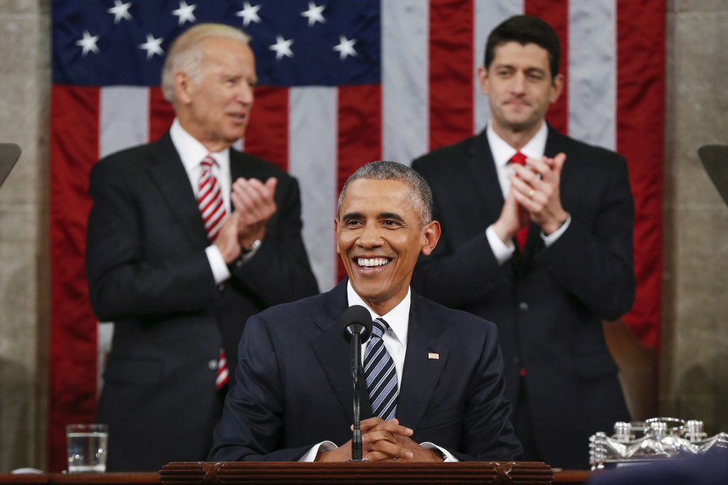 President Barack Obama delivers his State of the Union address before a joint session of Congress on Capitol Hill.
