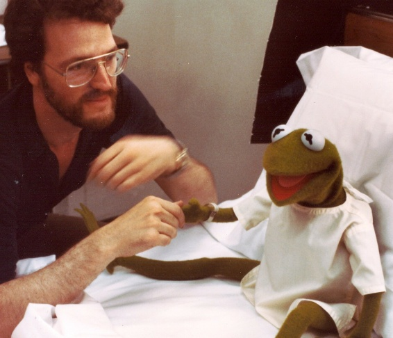 David Misch with Kermit (right) on the set of