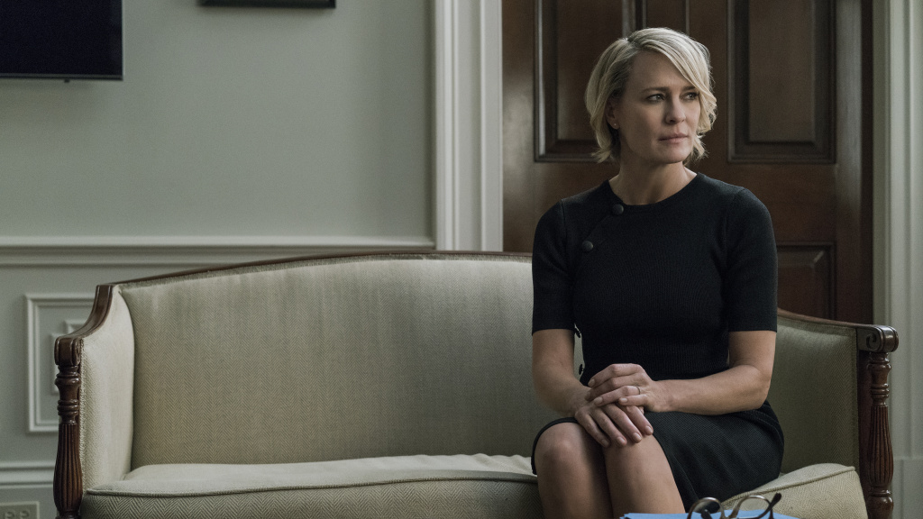 Robin Wright — shown in character as Claire Underwood in Netflix's <em>House of Cards </em>-- will be the lead actor in the final season of the show. Her former co-star Kevin Spacey has been accused of sexual harassment and assault.