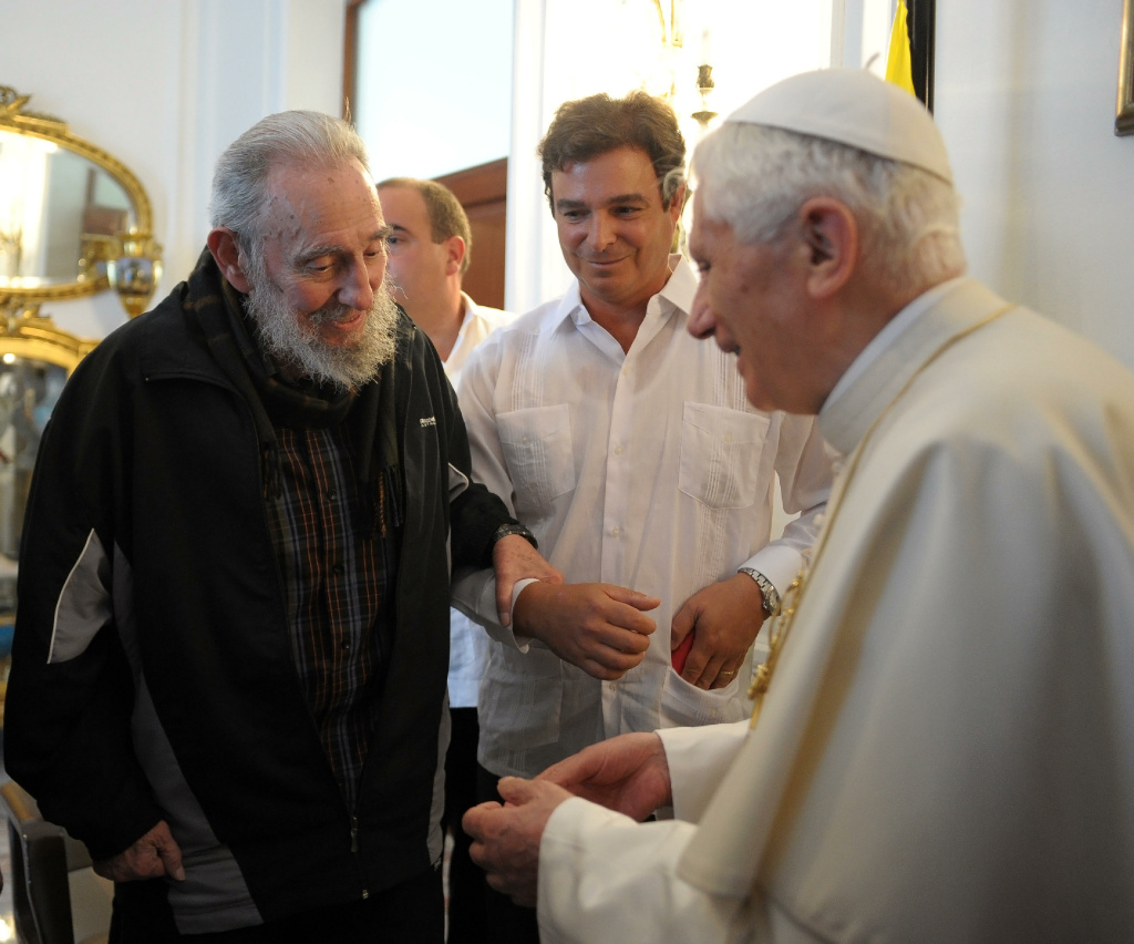 Pope Benedict XVI meets with former Cuban President Fidel Castro at the Vatican embassy on March 29, 2012 in Havana, Cuba.