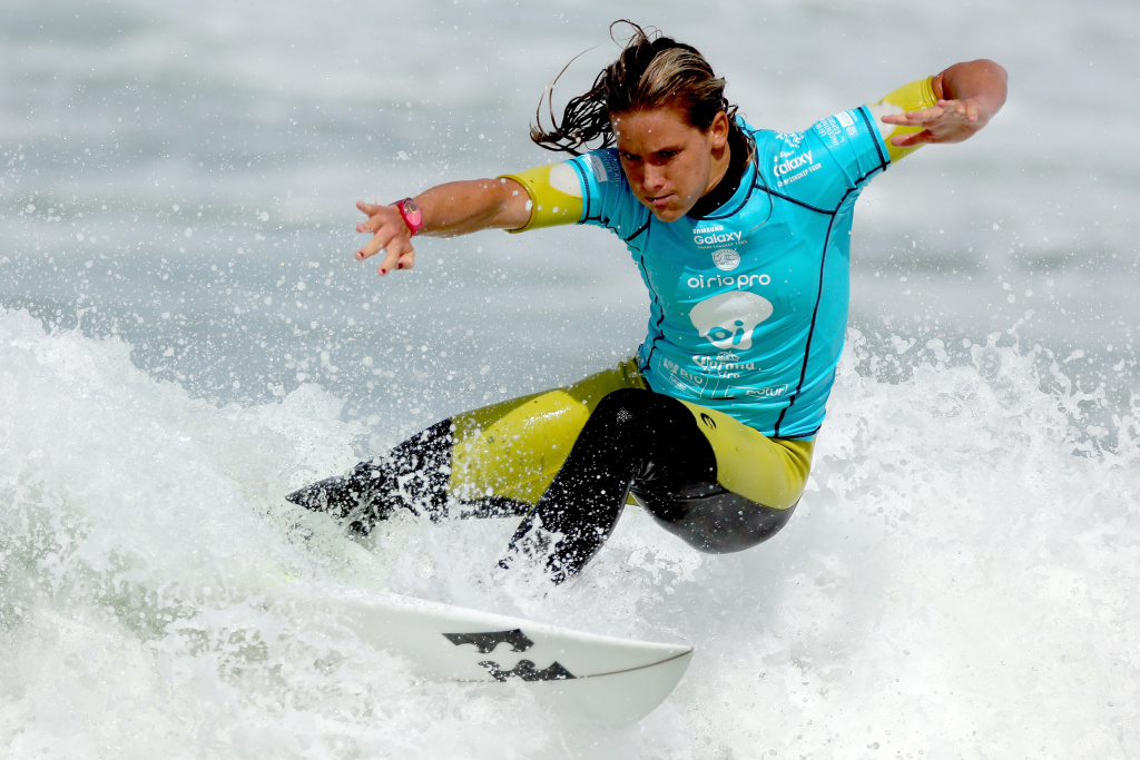 RIO DE JANEIRO, BRAZIL - MAY 17: Courtney Conlogue of the United States surfs during the Final of the Oi Rio Pro on May 17, 2015 in Rio de Janeiro, Brazil. (Photo by Matthew Stockman/Getty Images)