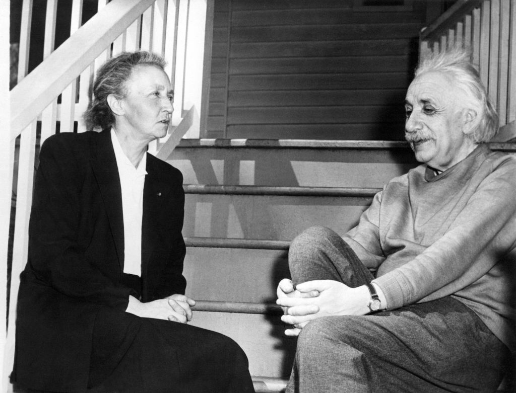 Picture dated 1948 showing Irène Joliot-Curie together with Albert Einstein. The Curies' daughter Irène and her husband, Fréréric Joliot, were awarded the 1935 Nobel prize for chemistry. Marie Curie and her husband, the French physicist, Pierre Curie, were the discoverers of radium and won the Nobel prize for physics in 1903.
