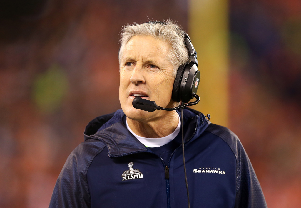 Head coach Pete Carroll of the Seattle Seahawks looks on against the Denver Broncos during Super Bowl XLVIII at MetLife Stadium on February 2, 2014 in East Rutherford, New Jersey.