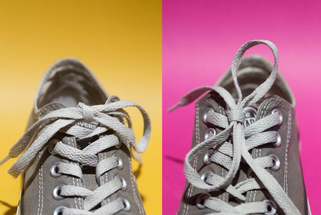The laces on the left are tied in a strong knot that lies horizontally. The laces on the right are tied in a knot that makes the bow lie vertically and which, according to new research, can come untied more easily.