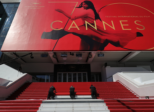 CANNES, FRANCE - MAY 17:  The red carpet is rolled out for the start of the 70th annual Cannes Film Festival at the Palais des Festivals on May 17, 2017 in Cannes, France. Celebrities, fans and the movie world are descending on Cannes for this year's festival of the screen which begins today.  (Photo by Christopher Furlong/Getty Images)