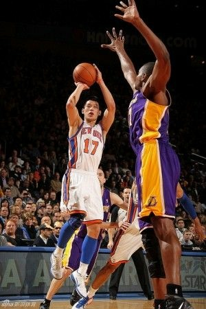 The New York Knicks' Jeremy Lin in a game against the Los Angeles Lakers, February 10, 2012