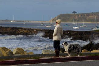 A woman watches as tsunami surges hit the coast on March 11, 2011 in Half Moon Bay, California.