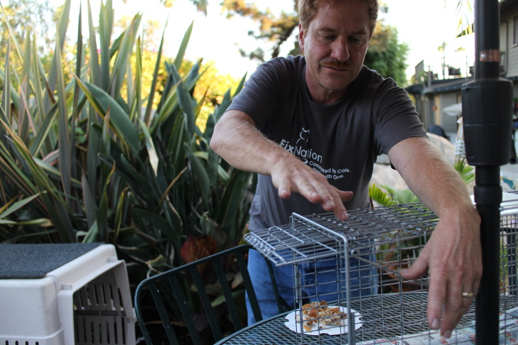Joe Federico sets a trap for feral cats