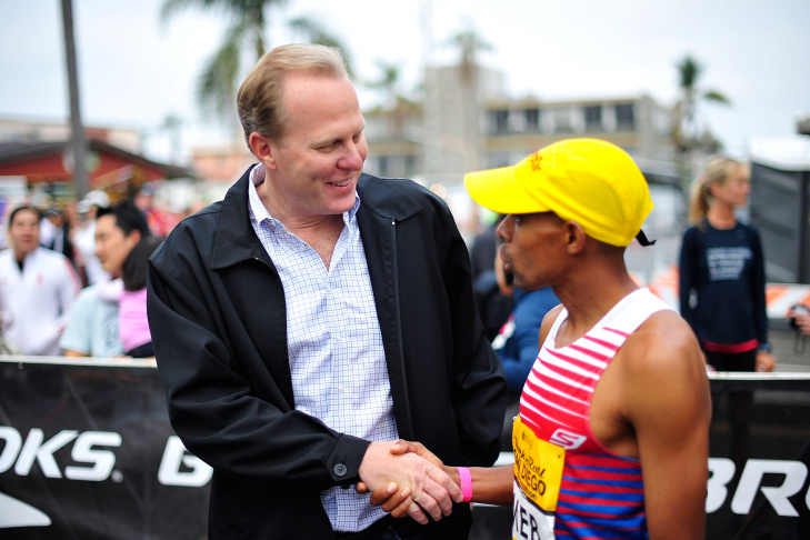 File: San Diego Mayor Kevin Faulconer speaks during a Memorial Tribute To Tony Gwynn by the San Diego Padres at Petco Park on June 26, 2014 in San Diego.