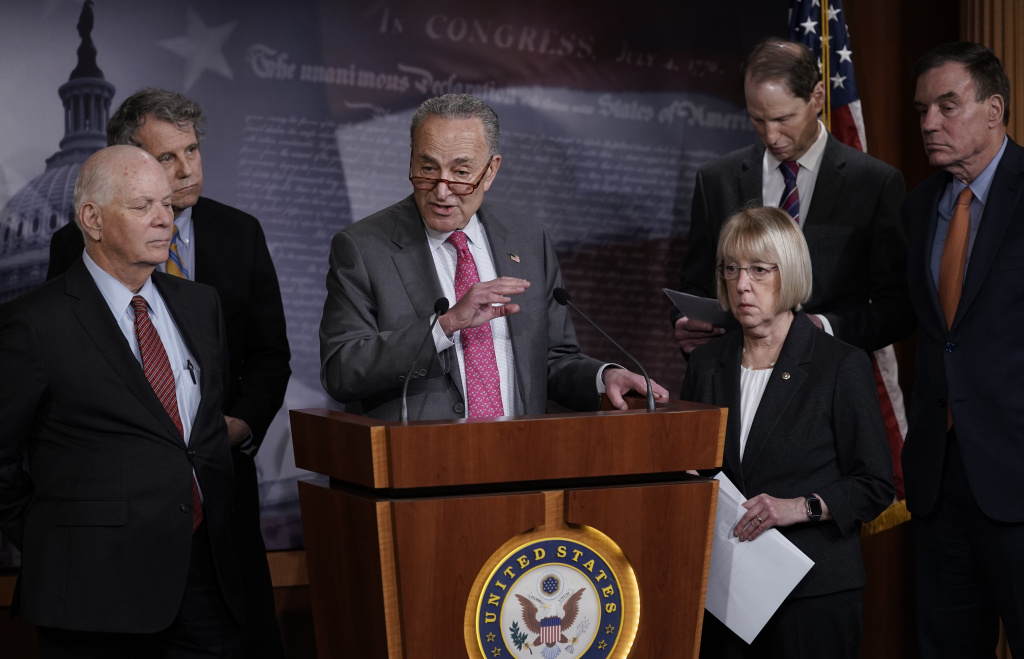 Senate Minority Leader Chuck Schumer, D-N.Y., and fellow Democrats hold a news conference to discuss emergency paid sick leave to assist people whose jobs are impacted by the coronavirus outbreak.