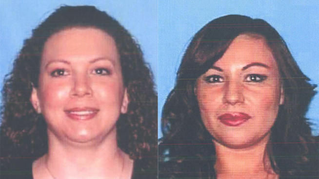Stacey Schreiber, 39, left, and Irma Zamora, 40, were electrocuted when they went to help a driver at the scene of a car crash. They're seen here in their DMV photos.