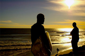 Surfing at Sunset Beach in Malibu on Christmas Eve