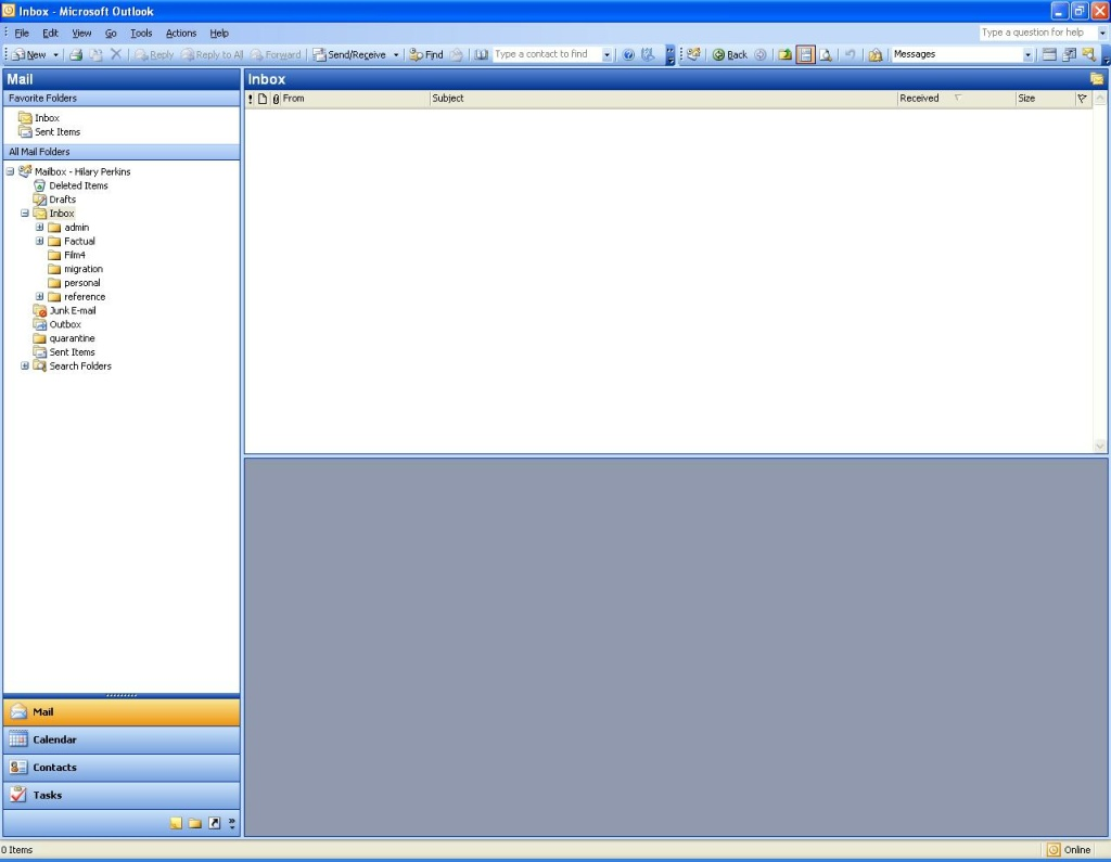 An empty email inbox.
