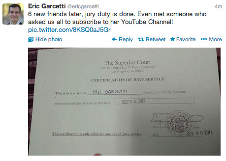 Mayor Eric Garcetti was excused from jury duty Monday afternoon. Back to mayorin'!