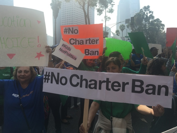 Charter school supporters gathered outside the headquarters of the L.A. Unified School District to oppose a proposed temporary moratorium that school board members were voting on on Tues., Jan. 29, 2019.