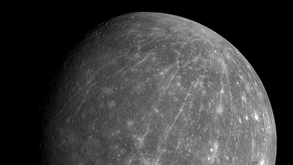 This October 2008 photo shows Mercury during the Messenger spacecraft's second flyby of the planet.