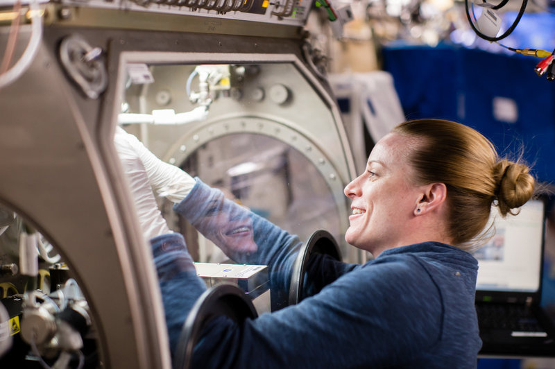 Rubins works on an experiment inside the station's glovebox. Prior research has suggested that the microgravity of space can change gene expression in certain bacteria and make them more virulent.