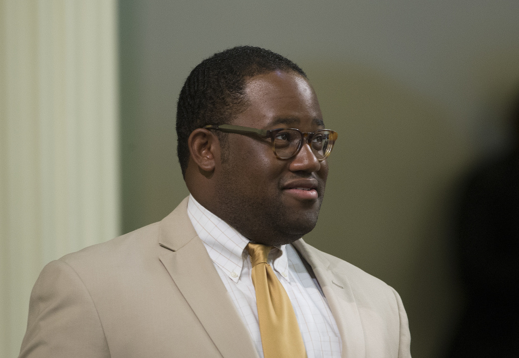 This Aug. 15, 2016, file photo shows Assemblyman Sebastian Ridley-Thomas, D-Los Angeles, at the Capitol in Sacramento, Calif. Citing health reasons, Ridley-Thomas announced, Wednesday, Dec. 27, 2017, that he plans to resign his seat at year's end.