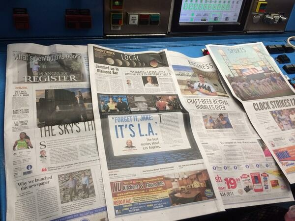 File photo: The Los Angeles Register debuted on April 16, 2014.