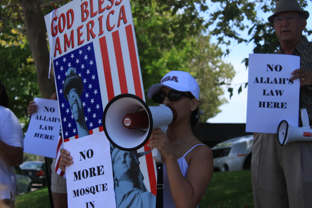 An unidentified protestor outside the Islamic Center of the Temecula Valley during a demonstration July 30, 2010.