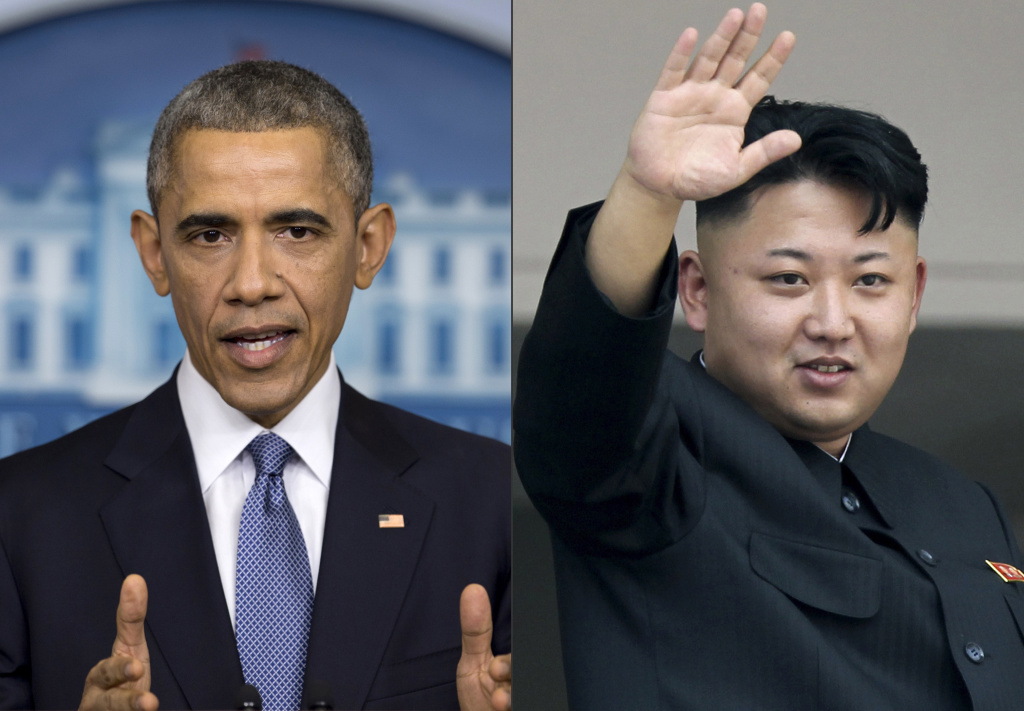 This photo combination shows U.S. President Barack Obama, left, and North Korean leader Kim Jong Un. The isolated Asian nation is accusing the United States of targeting it with anthrax. U.S. defense officials disclosed in late May that low concentration samples of live anthrax were shipped to labs in 19 states and four countries, including a U.S. military facility in South Korea.