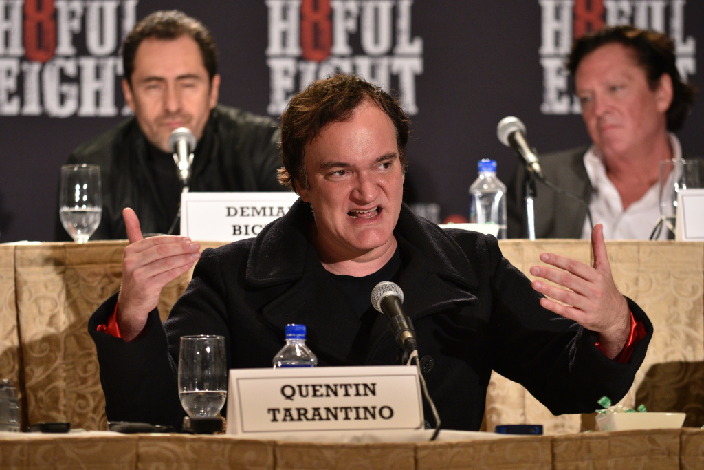 Director Quentin Tarantino speaks at the press conference for