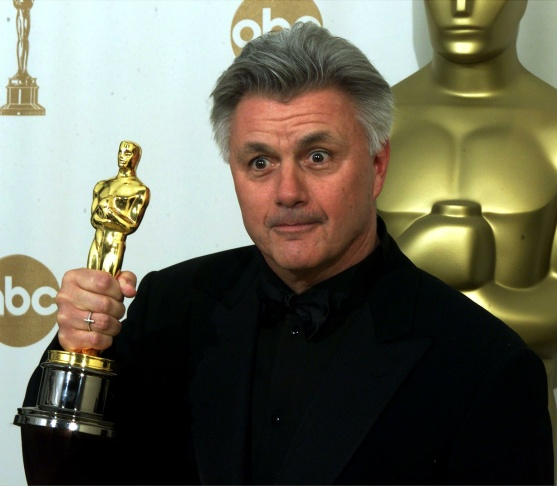 Author John Irving holds his Oscar for Best Screen