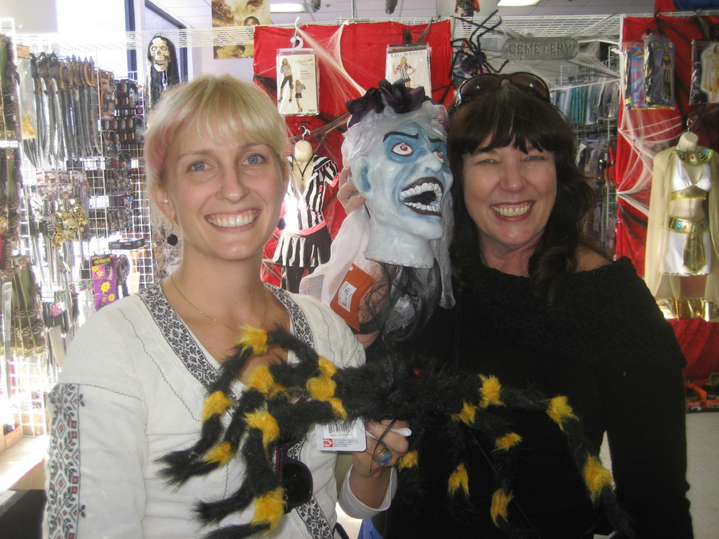 Amanda Claverie, left, and her mother Judy at the RIP Halloween Megastore in Monrovia.